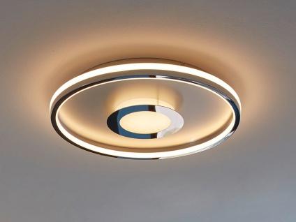Flache LED Deckenleuchte BUG rund Ø59cm mit Fernbedienung - Silber matt & Chrom