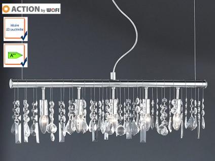 5-fl. Pendelleuchte mit LED Chrom & Kristallbehang klar L. 80cm Esstischlampen