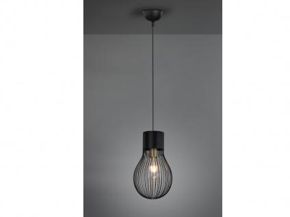 Moderne LED Pendelleuchte 1flammig im RETRO Look mit Gitter Lampenschirm schwarz