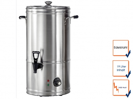 Profi Heißgetränkespender Edelstahl 19 Liter, Glühwein Wasser Tee Kocher Topf