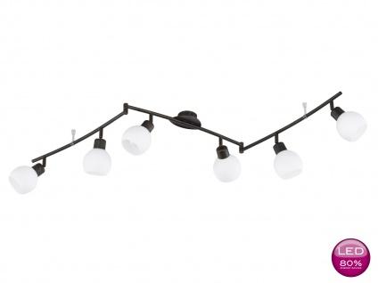 LED Deckenleuchte Deckenstrahler schwenkbar, rost antik Glas weiß Landhaus Trio