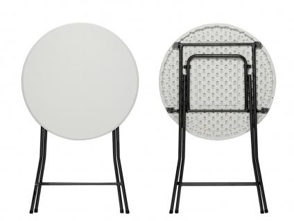 Robuster STEHTISCH klappbar Ø80cm weiß mit Stretch-Husse Beige, Klapp Tisch - Vorschau 4