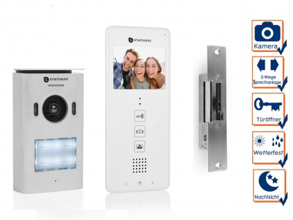 Set: 1 Familienhaus Videotürsprechanlage mit Türöffner und Kamera, Klingelanlage