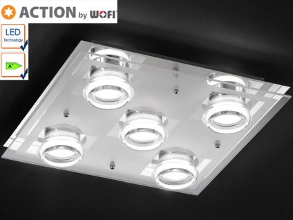 LED Deckenleuchte 35x35 cm, Chrom / Glas / Acryl, Action by Wofi