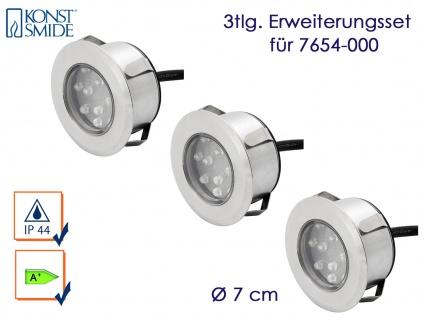 Konstsmide Erweiterungsset Mini LED Bodenspots Edelstahl, Ø 7cm, Einbaustrahler