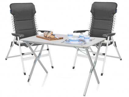 SET mit: Campingtisch und 2er klappbare Campingstühle - stabiler ALU Rolltisch - Vorschau 1
