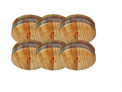 6er SET Brand-Melder Holzoptik 5 Jahres Batterie, EN14604 geprüft, Alarm Feuer - Vorschau 2