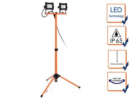 LED Doppelbaustrahler mit Stativ, Profi Arbeitsscheinwerfer Outdoor Fluter 2x10W