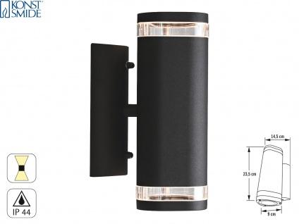 Aluminium Up-Down Wandleuchte schwarz GU10 Höhe 23, 5cm IP44 Fassadenbeleuchtung