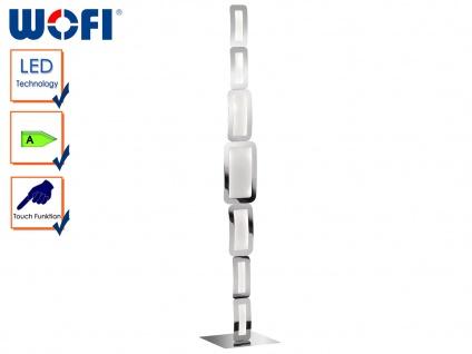 LED Stehleuchte SAGA Weiß/Chrom, Höhe 136cm, Touchschalter, Standlampe Leuchte