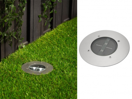 LED Solar Bodeneinbaustrahler, rund, gebürstetes Edelstahl IP67 RANEX