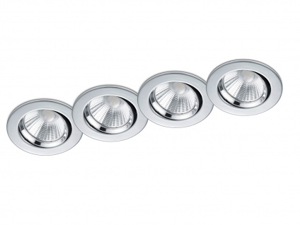 4er Set LED Einbaustrahler Decke rund schwenkbar dimmbar Chrom glänzend 5, 5W