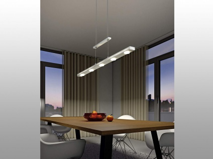 100cm lange LED Designer Pendelleuchte in Nickel matt mit 4-fach TOUCH Dimmer