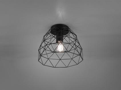 Retro LED Deckenleuchte 1 flammig Metall Gitter Schwarz matt Ø27cm Höhe 22cm