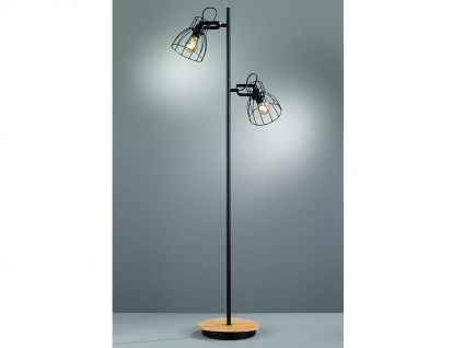 2flammige Vintage Stehlampe, Lampenschirm Gitterlampe schwarz mit Fuß Holz natur