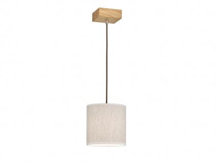 Schöne Pendelleuchte einflammig Holz Eicheoptik mit Lampenschirm aus Leinenstoff