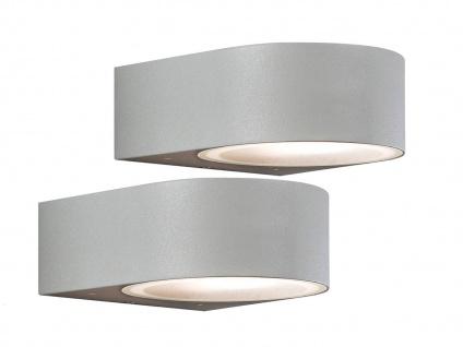 2er-Set stilvolle Wandleuchten TERAMO, E27, Aluminium grau Höhe 7 cm
