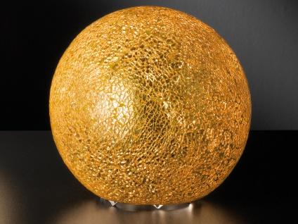 Kugel Tischleuchte Glas Goldfarbig craquele Ø 20cm Wohnraumleuchte Design Lampe - Vorschau 2