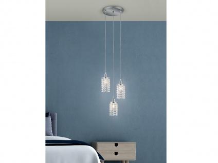 LED Pendelleuchte 3 flammig Chrom, Glaslampenschirm Acryl Kristall Behang Ø30cm