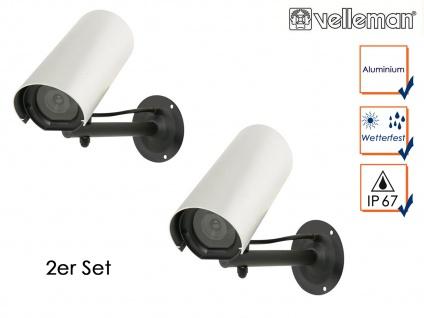 2er Set Kamera Attrappe, blinkende LED, Dummy Innen Außen Überwachungskamera