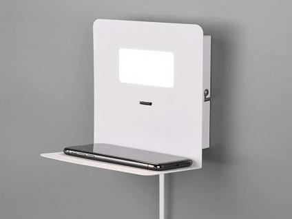 LED Wandleuchte Weiß matt USB Anschluss & Ablage Nachttisch Wandlampen fürs Bett