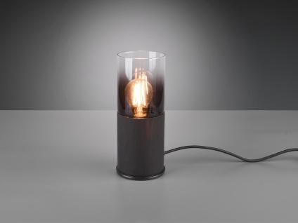 Ausgefallene LED Rauchglas Tischbelleuchtung Zylinderform Nachttischlampe schmal