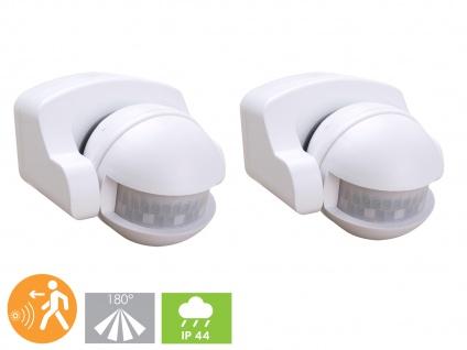 2er-SET Aufputz Bewegungsmelder weiß 8m/180°, Lux und Zeitintervall einstellbar