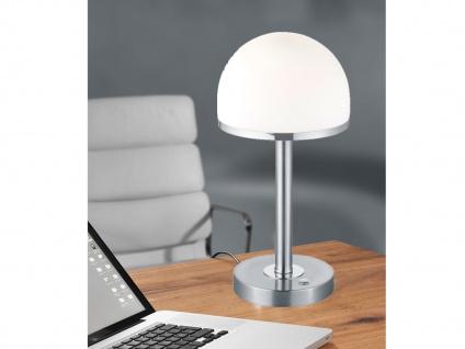 Design LED Wohnzimmerleuchte Nickel MATT & Schirm weiß TOUCH Nachttischlampe