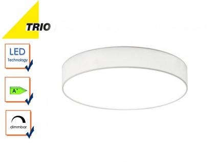 Trio LED Deckenleuchte dimmbar LUGANO 40cm Stoffschirm weiß, Wohnzimmerlampe