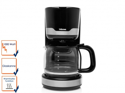 Praktische Kaffeemaschine für 10-12 Tassen inklusive 1, 25 Liter Glaskanne