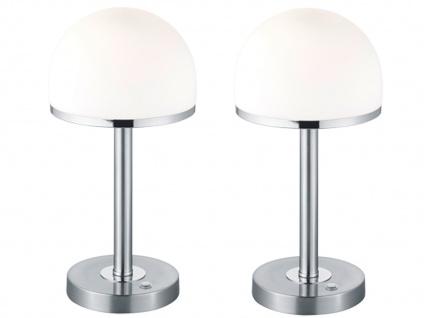 2 Vintage LED Tischleuchen Nickel matt mit Glaslampenschirm in weiß TOUCH Dimmer