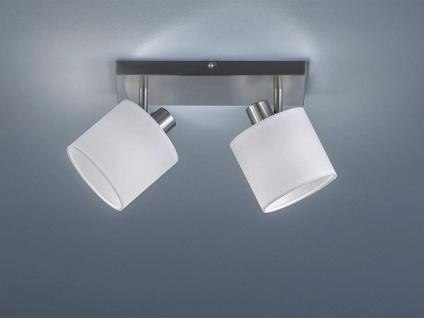 Deckenstrahler 2 flammig, schwenkbar mit Stoff Lampenschirm in Weiß Wandstrahler