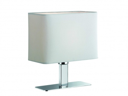 Tischleuchte in Chrom mit eckigem Stofflampenschirm in Weiß, Wohnraumleuchte E14