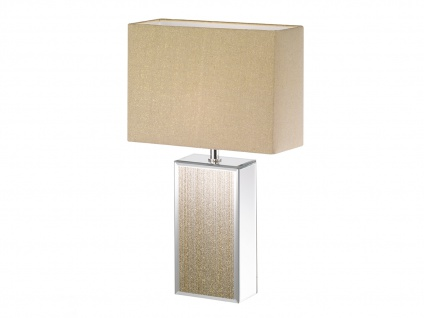 Rechteckige Tischlampe gold verspiegelt mit E14 LED, Lampenschirm Stoff Leinen