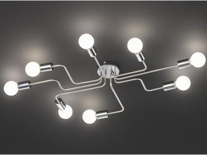 Retro LED Desing Deckenleuchte Nickel matt/Chrom Industrie Look fürs Wohnzimmer - Vorschau 2
