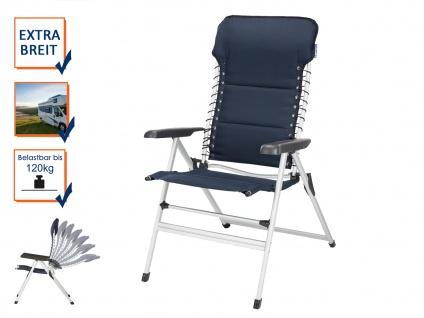 ALU Campingstuhl Hochlehner verstellbar & klappbar Klappliegestuhl + Sitzauflage - Vorschau 3
