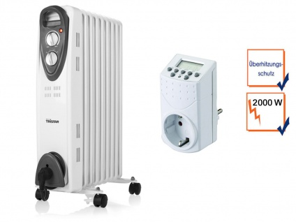 2000W Elektroheizung mit Rollen, Thermostat & Zeitschaltuhr, Raumheizung Timer