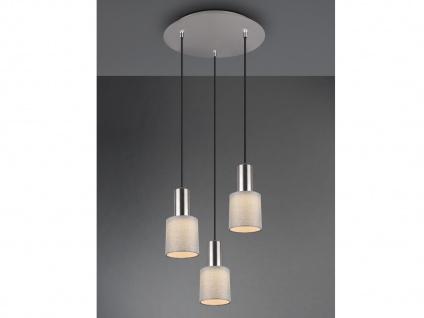 3 flammige LED Pendelleuchte mit Stoffschirm Grau Optimale Beleuchtung Esstisch