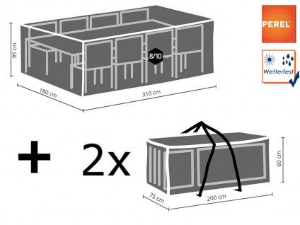 Schutzhüllen Set XXL: Abdeckung für Gartenmöbel 310x180cm + 2x Polsterhülle