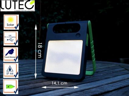 Universal LED Solarleuchte mit USB Ein- & Ausgang dimmbar IP44 H. 18cm Grün