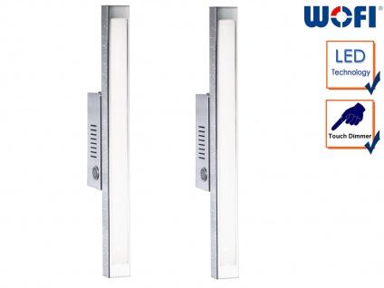 2er Set LED Wandleuchte mit Dimmer, Chrom, L. 42cm, Wandlampe Designerlampe Flur