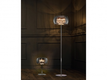Dimmbare LED Stehleuchte mit ovalem Glasschirm & Dekobehang, mehrflammig, modern