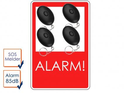 4er-Set Mini-Taschenalarm Überfallalarm Notruf Personen-Alarm 85dB