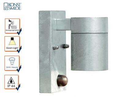 Wandleuchte MODENA mit Bewegungsmelder, galv. Stahl, GU10, Höhe 9 cm