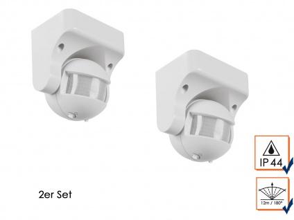 2er Set PIR Bewegungsmelder 12m/180°, 1200W, Bewegungssensor PIR Sensor