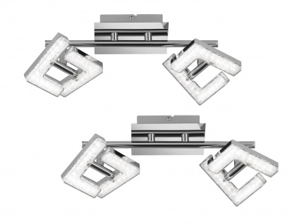 2 LED Deckenleuchte Strahler schwenkbar 8W Chrom poliert Beleuchtung Wohnzimmer