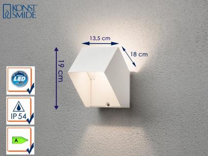 Eckige LED Außenwandleuchte Alu weiß IP54 6W UP/Down-Light Fassadenbeleuchtung