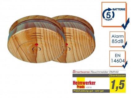 2er SET Brand-Melder Holzoptik 5 Jahres Batterie, EN14604 geprüft, Feuer Alarm