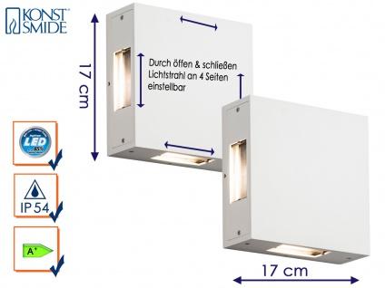 2er-Set LED Außenwandleuchte CREMONA weiß Lichtstrahl individuell einstellbar