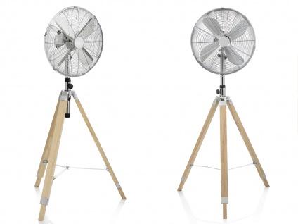 Oszillierender Standventilator mit Holzstativ 2er Set höhenverstellbar Ø 45cm - Vorschau 2